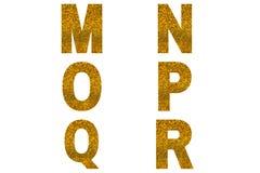 Golden font Alphabet m, n, o, p, q, r made of golden sparkle background.