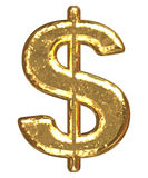 Golden font. Dollar sign. Gold dollar sign as bars.Letter as grainy bar of gold Stock Photography
