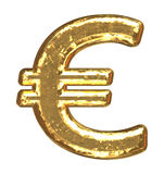 Golden font. Euro sign. Gold euro sign as bars.Letter as grainy bar of gold Royalty Free Stock Photo