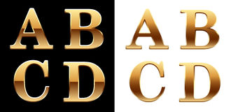 Golden font - latter A B C D. Stock Photo