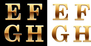 Golden font - latter E F G H. Royalty Free Stock Images