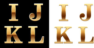 Golden font - latter I J K L. Stock Photography
