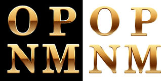 Golden font - latter O P N M. Royalty Free Stock Photography