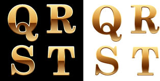 Golden font - latter Q R S T. Stock Photo