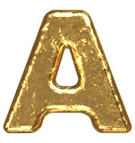 Golden font. Letter A. Royalty Free Stock Image