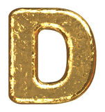 Golden font. Letter D. Royalty Free Stock Images