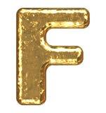 Golden font. Letter F. Stock Photos