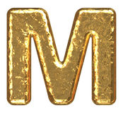 Golden font. Letter M. Stock Photos
