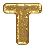 Golden font. Letter T. Stock Photography