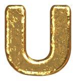 Golden font. Letter U. Royalty Free Stock Image