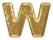 Golden font. Letter W. Stock Photography