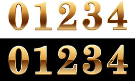 Golden font - number 0 1 2 3 4 Royalty Free Stock Image