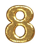Golden font. Number eight Stock Image