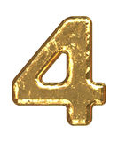 Golden font. Number four Stock Images