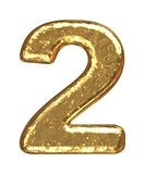 Golden font. Number two Royalty Free Stock Images