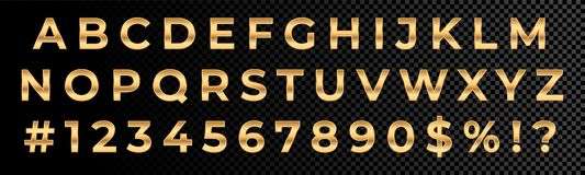 Golden font numbers and letters alphabet typography. Vector gold font type with 3d metal gold