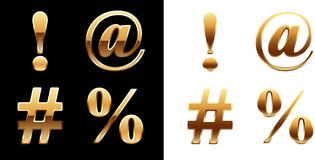 Golden font - special characters Royalty Free Stock Photos