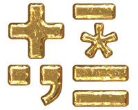 Golden font. Symbols Stock Photos