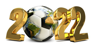 2022 golden football ball 3d render. Elements of this image furnished by NASA. Illustration graphic Royalty Free Stock Photo