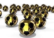 Golden football balls concept Royalty Free Stock Photos