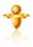 Golden football emblem Royalty Free Stock Photography