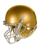 Golden Football Helmet. Gold football helmet isolated over white background - With clipping path Royalty Free Stock Photo