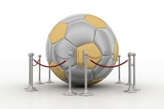 Golden football surrounded by  barrier Royalty Free Stock Photo