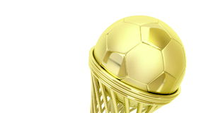 Golden football trophy. Rotates on white background stock footage