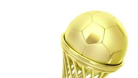Golden football trophy stock footage