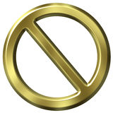 Golden forbidden sign Royalty Free Stock Images