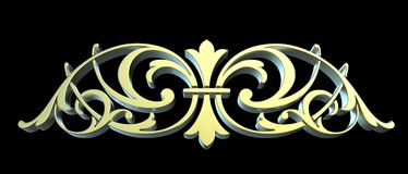 Golden forged floral ornament Stock Photography