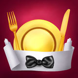 Golden fork knif and plate with paper role banner Stock Photo