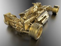 Golden formula one car Royalty Free Stock Photos