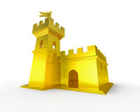 Golden fortress luxury gold castle isolated Stock Photo