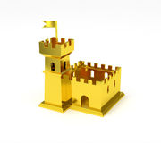 Golden fortress miniature gold castle isolated Royalty Free Stock Photo