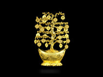 Golden fortune tree. Golden Chinese fortune tree in black background Royalty Free Stock Image