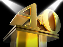 Golden Forty On Pedestal Shows Shiny Prizes And Royalty Free Stock Photography
