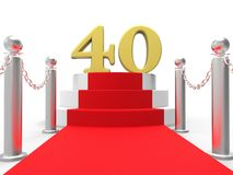 Golden Forty On Red Carpet Means Entertainment Stock Photos