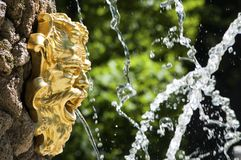 Golden fountain face of Neptune in the park Royalty Free Stock Images