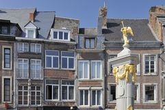 Golden fountain and old facades, namur Royalty Free Stock Photography
