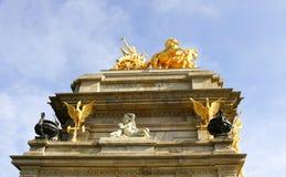Golden fountain sculptures Park Ciudadela Stock Images