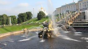 Golden fountains in Peterhof summer evening. Saint-Petersburg. Russia. stock video footage