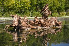 golden fountains in segovia palace in Spain. bronze figures of m Stock Image