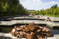 golden fountains in segovia palace in Spain. bronze figures of m Stock Photo