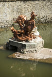 golden fountains in segovia palace in Spain. bronze figures of m Stock Photos