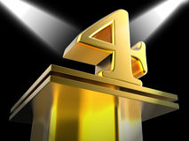 Golden Four On Pedestal Means Movie Awards Or Stock Images