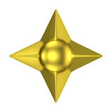 Golden four pointed star 3D Stock Image