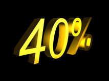 Golden fourty percent on black background 3d render. Sales financial concept Stock Images