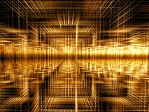 Golden fractal background- abstract digitally generated image. Golden fractal background - abstract computer-generated image. Road to wealth concept. Glass walls Stock Photos