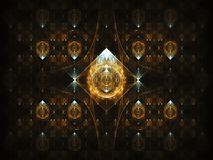 Golden fractal. Fractal is made in apophysis and processed in photoshop. The fractal is composed of different elements.nThe image is dominated by gold and black royalty free illustration